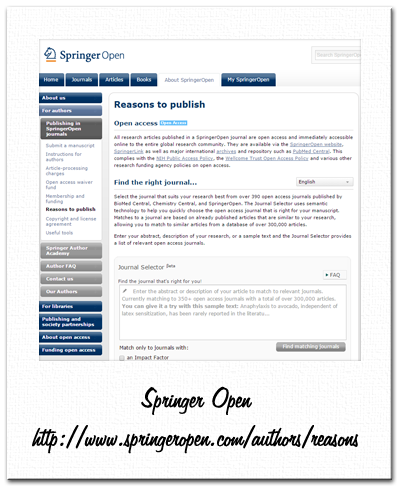 Springer Open - journal selector