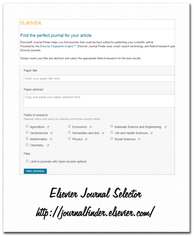 elsevier - journal finder